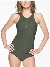ATHLETA  Bonaire Zip Front Tankini Top- Green Rapids/Black NWT $84 Sz XS
