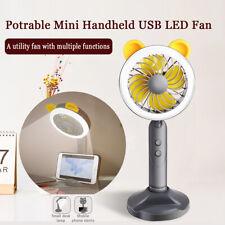 Portable USB Handheld Mini Fan Cooler Air LED Night Light Rechargeable Desk Lamp