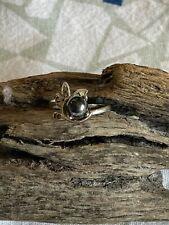 Size 6.75 18K HGE Ring w/Hematite Pearl