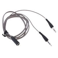 3.5mm Female to 2 Male Headphone Mic Y Splitter Cable Audio Adapter 1m Gray
