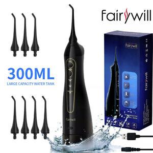 Fairywill Water Flosser Dental Oral Irrigator Pick Cordless Teeth Cleaner Black