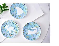 Cute animals silhouette plate set 4pc bone china dinner sets rabbit deer kitty