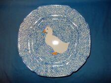 "11 1/2"" Blue Spongeware Duck Plate Platter Low Serving Bowl  Dish"
