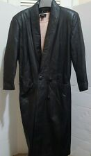 Womens Genuine Leather Full Length Trench Coat Jacket Size Small