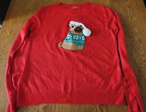Primark Ladies Pug Christmas Jumper Size 10/12