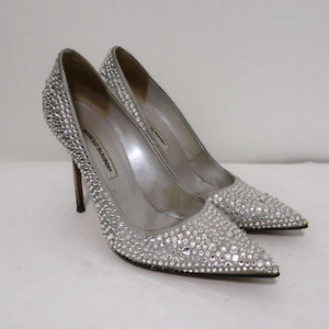 Manolo Blahnik Crystal BB Pumps Silver Satin Size 40.5 Pointed Toe Heel