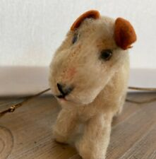 Vintage Steiff Puppy Dog Stuffed Animal Toy Fox Terrier w/collar & leash