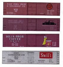 Four HO boxcars West India Fruit, Hills Bros Coffee, Swift Silver printed sides