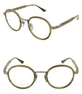 GUCCI Titanium GG0067O 002 48mm Round Optical Frame Eyeglasses Ruthenium Havana