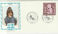 France 1979 Int Year of Child Slogan Cancels Picture + Stamp FDC Cover Ref 31671