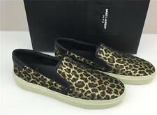 New SAINT LAURENT Classic Skate Slip-on Brown Leopard Brocade Sneaker 7.5