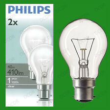 2x 40w Philips Clear Incandescent Standard GLS Light Bulbs Bayonet Cap BC B22