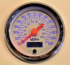 """Speedometer 140 MPH Programmable 3-3/8""""/86mm Blue LED light, white/chrome"""