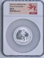2016-P Australia Silver $2 Lunar Year of the Monkey NGC MS-70