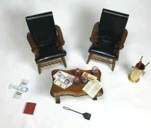 1:12 LOT VINTAGE DOLLHOUSE Wood Chairs Coffee Table Accessories