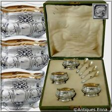 Coignet French Sterling Silver 18k Gold 4 Salt Cellars, Spoons, Original Box
