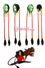 LOL Jinx Firecracker Black Green Super Long Ponytail Loose Cannon Loli Wigs