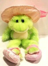 Ganz Heritage Carmel Plush Green Frog Stuffed Animal Pink Hat Shoes Jewels