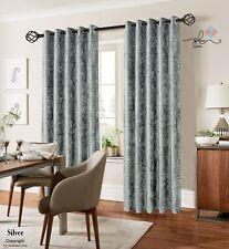 Silver Crushed Velvet Curtain - fully lined - Eyelet Ring Top- Various UK Sizes