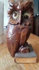J. Oswald Vintage Carved Wood Owl Clock Rolling Eyes