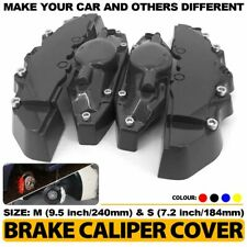 ABS Black Style 4 Pcs Front & Rear Universal Disc Brake Caliper Cover M+S CY03