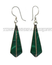 Malachite Earring Gypsy Earring Nepal Earring Tibetan Earring Silver Earring