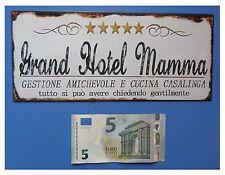 """Targa vintage """"Grand Hotel Mamma"""" cinque 5 stelle, metallo, cm 25x11"""