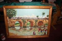 Original Oil Painting Stone Bridge People Washing Clothes River Edel Fried Aju