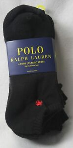 Polo Ralph Lauren 6 Pairs Black Ankle Athletic Socks 10-13 Red Pony NWT