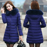 Winter Women Down Cotton Parka Long Fur Collar Hooded Coat Jacket outwear XL-6XL