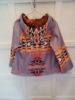 Southwest Aztec Yellowstone Print Poncho Type Coat womens xl lined jacket bright