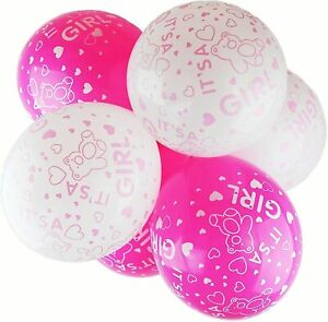 """10x 12"""" White/Pink Its a Girl Baby Shower Balloons Girls Gender Reveal Decor"""