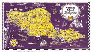 "1931 Pictorial Map of Catalina Island California 9""x16"" Wall Art Print Decor"