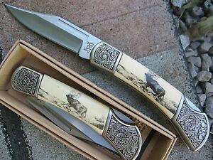 FOX outdoor Messer Einhandmesser Taschenmesser Klappmesser mit Jagdmotiv HIRSCH