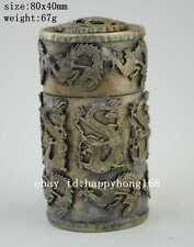 China Old Miao Silver Carving Noble Dragon & Phoenix Rare Unique Toothpick Box