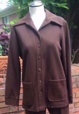 Vintage Double Knit Long Point Collar Jacket/Blazer/Brown