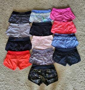 Lululemon Run Speed Shorts  Lot of 13!  Pink, Black, Periwinkle   Sz 4  EUC!!