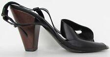 New Women's Anthropologie Black Leather Sandals Size EU 37 US 6.5 7 Beach