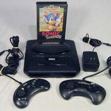 Vtg Sega Genesis Console System Model 2 MK-1631A 2 Controllers & Sonic Hedgehog