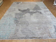 11'9 X 15'2 Hand Knotted Blue Gray Modern Abstract Oriental Rug With Silk G4180