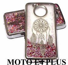 For Motorola Moto E4+ PLUS Silver Dream Catcher Pink Glitter Liquid Case Cover