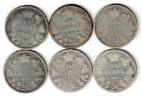6 X CANADA TEN CENTS DIMES VICTORIA STERLING SILVER COINS 1890 - 1901 SEE DATES
