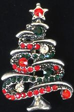 "Christmas Tree Pin Brooch Jewelry 1.5"" Silver Red Green Clear Rhinestone Garland"