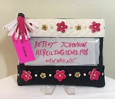 "Betsey Johnson ""In Bloom"" Flowers and Pearls Clear Cosmetic Bag Pouch NWT $68."