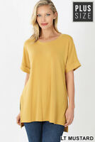 New! ZENANA plus size Lt. mustard rolled short sleeve scoop neck hi/lo hem tee