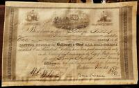 Rare 1852 Pre Civil War B&O Railroad Stock Certificate, Signed by Thomas Swann