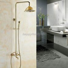 Gold Color Brass Bathroom Rain Shower Faucet Set Bath Tub Mixer Tap ygf343