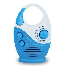 Mini Portable AM FM Shower Radio for Bathroom Built-in Speaker Blue