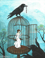 5x7 PRINT OF PAINTING RYTA RAVEN CROW SURREALISM FANTASY GOTHIC WICCA FAIRY