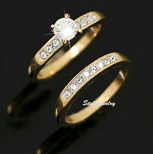 Rose Gold Plated Engagement Wedding Ring Set Made With Swarovski Crystal R162